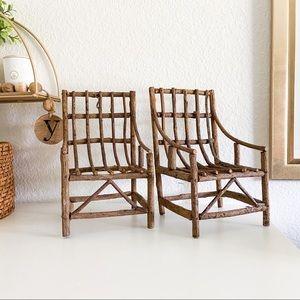 Other - Mini wood chairs rustic boho home decor